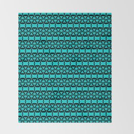 Abstract Pattern Dividers 02 in Turquoise Black Throw Blanket