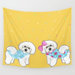 Bichon Frise Holidays yellow cute dogs, Christmas gift, holiday gift, birthday gift, dog, Bijon Wall Tapestry