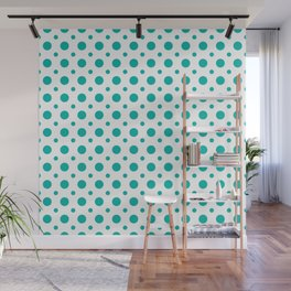 Turquoise and white polka dots pattern Wall Mural