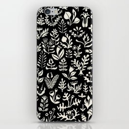 Black and white botanical pattern iPhone Skin