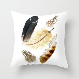 Brown feathers art, Five Feathers design, Tribal Boho style Throw Pillow