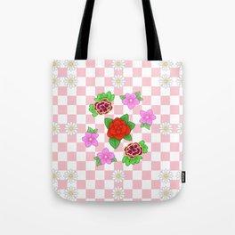 Pixel Flower Pattern Tote Bag
