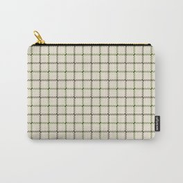 Fern Green & Sludge Grey Tattersall on Cream Background Carry-All Pouch