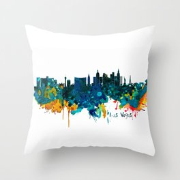 Las Vegas Watercolor Skyline Throw Pillow