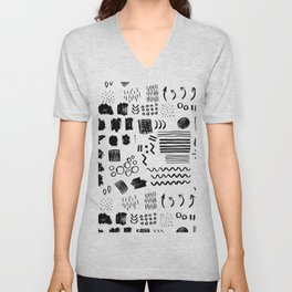 Modern black white watercolor brushstrokes shapes geometrical Unisex V-Neck