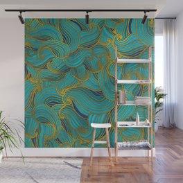 Golden Embossed  Swirl Wave Pattern on Blue Wall Mural