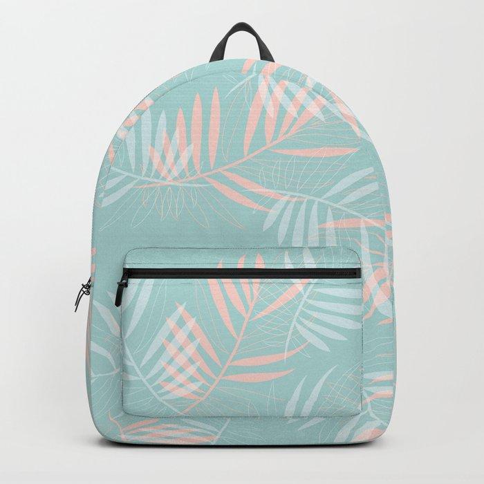 Palm Leaves Lace on Aqua Backpack