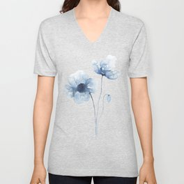 Blue Watercolor Poppies Unisex V-Neck
