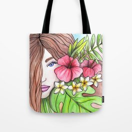 Floral girl Hibiscus Tote Bag