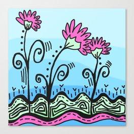 Three Spring Flowers - Blue Canvas Print