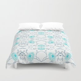 Shade of blue floral pattern Duvet Cover