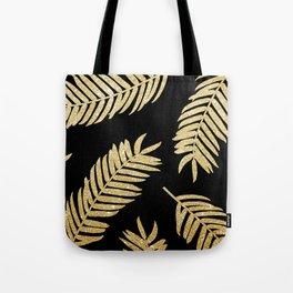 Gold Glitter Palms  |  Black Background Tote Bag
