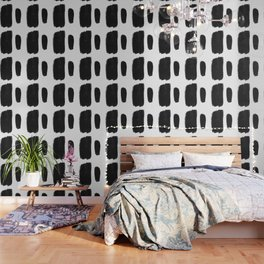 Black And White Minimalist Mid Century Abstract Ink Art Minimal Brush Strokes Black Color Block Wallpaper