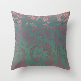 Ombre Damask Teal and Pink Throw Pillow
