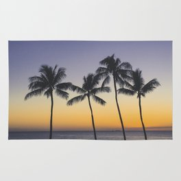 Palm Trees w/ Ombre Tropical Sunset - Hawaii Rug