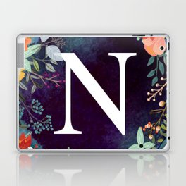 Personalized Monogram Initial Letter N Floral Wreath Artwork Laptop & iPad Skin