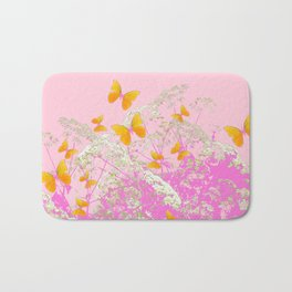 GOLDEN BUTTERFLIES IN PINK LACE GARDEN Bath Mat