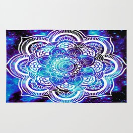 Mandala : Bright Violet & Teal Galaxy Rug
