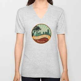 Philadelphia City Skyline Pennsylvania Retro Vintage Design Unisex V-Neck