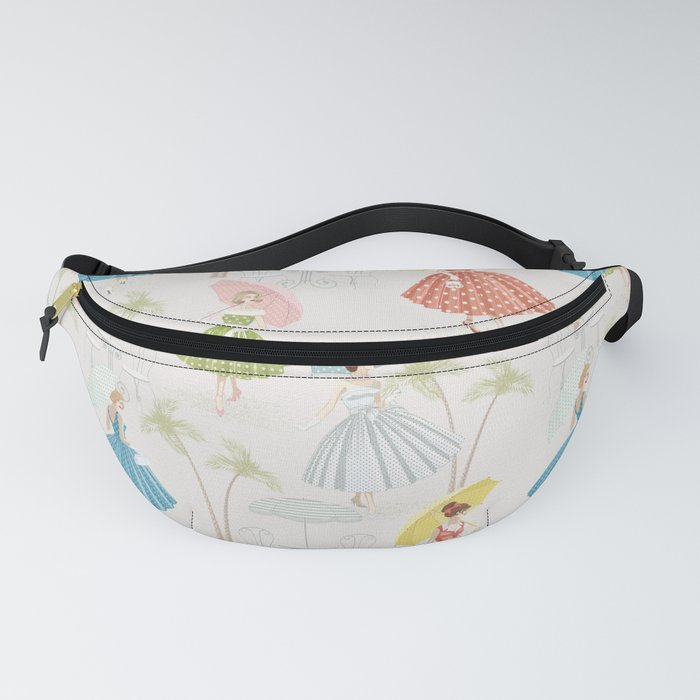 Women With Parasols Mid Century Summer Fanny Pack