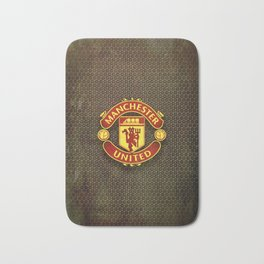 FC Manchester United metal background Bath Mat