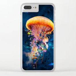 Electric Jellyish World Clear iPhone Case