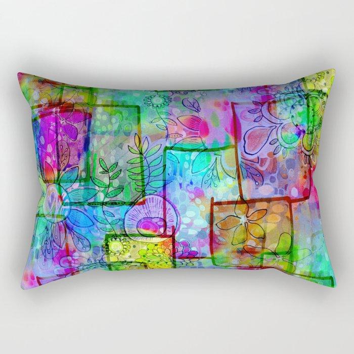 Rainbow Floral Doodle Rectangular Pillow