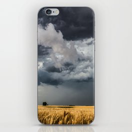 Cotton Candy - Storm Clouds Over Wheat Field in Kansas iPhone Skin