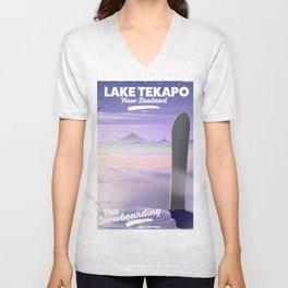 Snowboard Lake Tekapo New Zealand Unisex V-Neck