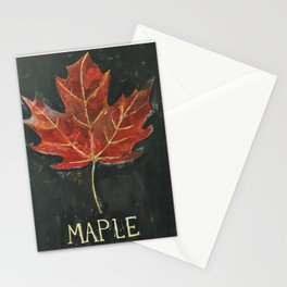 Fall Red Maple Leaf Black Background Stationery Cards