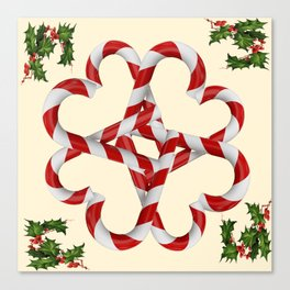 CREAMY YELLOW  RED-WHITE PINK  CHRISTMAS CANDY CANES Canvas Print