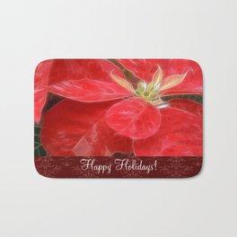 Mottled Red Poinsettia 1 Ephemeral Happy Holidays S5F1 Bath Mat
