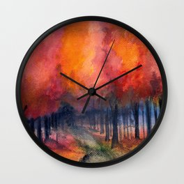 Nighttime Autumn Landscape Nature Art Wall Clock