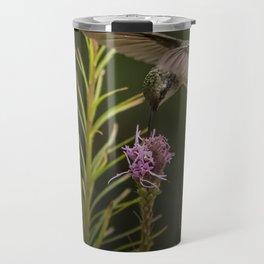 Hummingbird and deck flowers Travel Mug