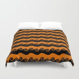 Background abstract - brightly colored orange-black spiral, pattern, texture design. Duvet Cover