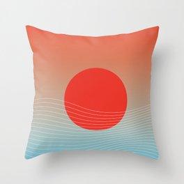 Red sun & white waves Throw Pillow