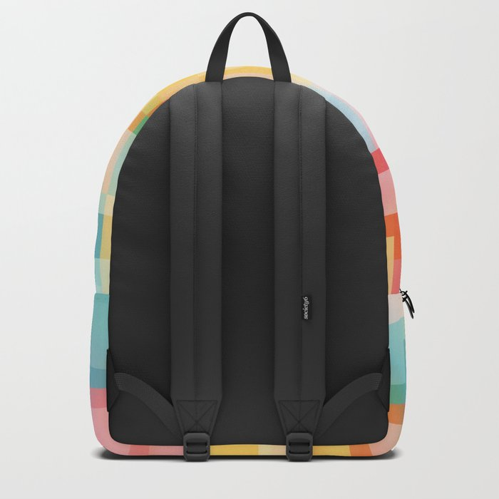 Soft Squares Geometric in Yellow, Orange, Red and Blue Backpack