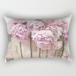 Shabby Chic Pink Peonies Paris Books Wall Art Print Home Decor Rectangular Pillow