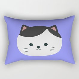 Cat with white fur and black hair Rectangular Pillow
