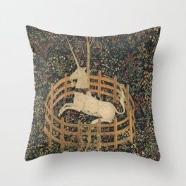 The Unicorn in Captivity (from the Unicorn Tapestries) Throw Pillow