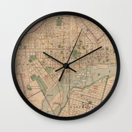Vintage Map of Richmond Virginia (1876) Wall Clock