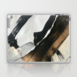 Stay   Collage Series 2   mixed-media piece in gold, black and white + book pages Laptop & iPad Skin