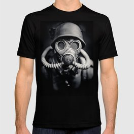 German Solider in a Gas Mask from World War II T-shirt