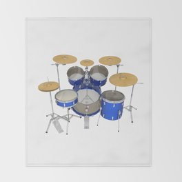 Blue Drum Kit Throw Blanket