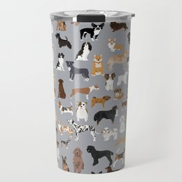 Mixed Dog lots of dogs dog lovers rescue dog art print pattern grey poodle shepherd akita corgi Travel Mug