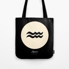 Aquarius Symbol Black Tote Bag