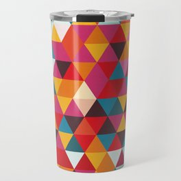 Vintage Summer Color Palette - Hipster Geometric Triangle Pattern Travel Mug