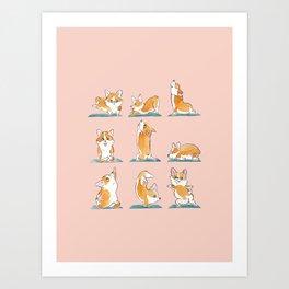 Corgi Yoga Watercolor Art Print