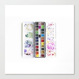 Messy Watercolor Painting Palette Photograph Canvas Print