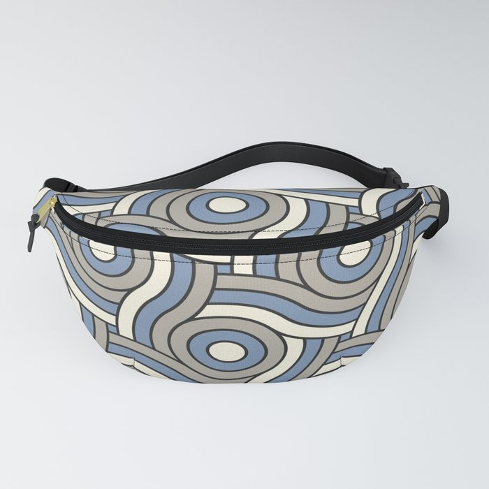 Circle Swirl Pattern Ever Classic Gray 32-24, Dusk Sky Blue 27-23, and Dove White 33-6 Fanny Pack